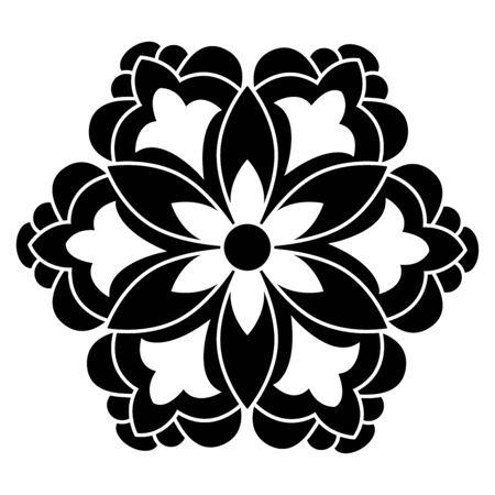 black and white antique Ottoman Turkish design motifs vector Illustration