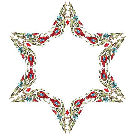 flower shape: colorful antique ottoman turkish design pattern vector