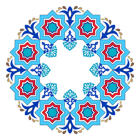octagonal: colorful antique ottoman turkish design pattern vector