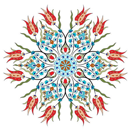 ottoman: colorful antique ottoman turkish design pattern vector