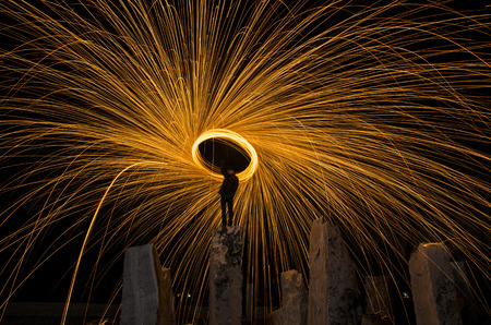 steel wool: burning steel wool, long exposed to light and spark lines