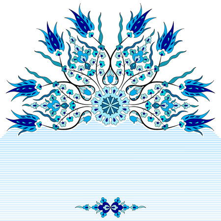 blauwe antieke ottoman Turkse ontwerp patroon