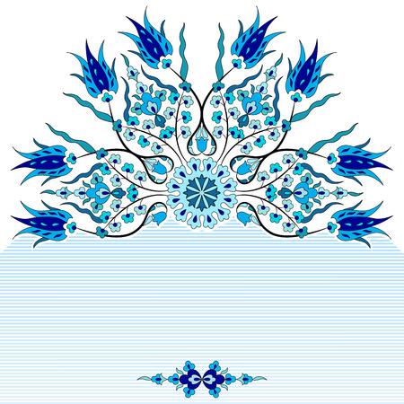 blue antique ottoman Turkish design pattern Çizim