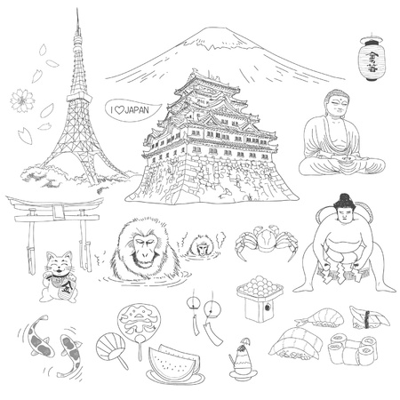 Japanese culture element doodles Vector