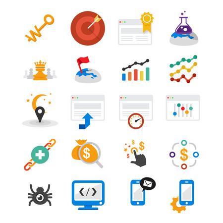 20 プロの検索エンジン最適化のためのアイコンの web サイト、web アプリケーションや web プレゼンテーション、印刷プロジェクト セット