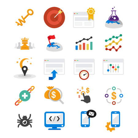 Set of 20 professional search engine optimization icons for web site, web applications, web presentation, your print project and more   イラスト・ベクター素材