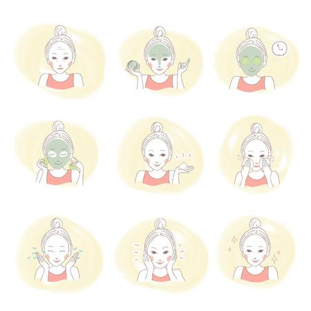 マスクを適用して彼女の顔にかわいい手描きで設定クレンジング美容アジア女性の肖像画のイラスト  イラスト・ベクター素材