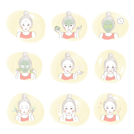 Illustration of beauty asian woman portrait  Applying mask and cleansing on her face  Cute set by hand drawn  Ilustração