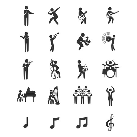 20 iconos del músico Foto de archivo - 27561433