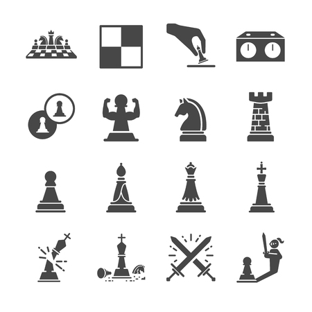 Chess line icon set Illustration
