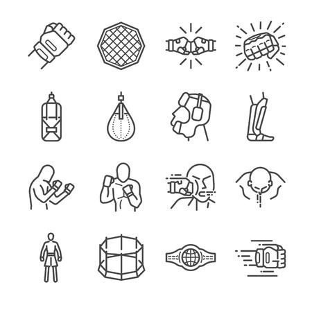 MMA: jeu d'icônes d'arts martiaux mixtes Banque d'images - 76192298