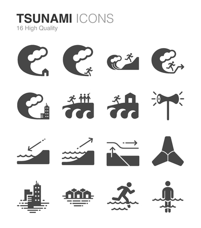 cascade mountains: Tsunami and Flood icons Illustration
