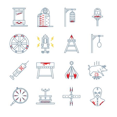 torture: Brutal torture device icons - Illustration