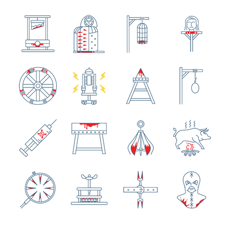 Brutal torture device icons - Illustration