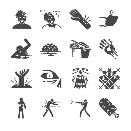 Walking dead man Zombie icons set - Illustration