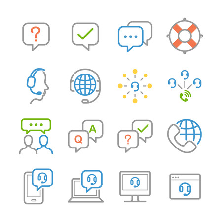 switchboard operator: Customer service icons - Illustration Illustration
