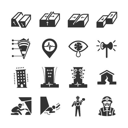 Icônes de tremblement de terre et de géologie - Illustration Banque d'images - 77086061