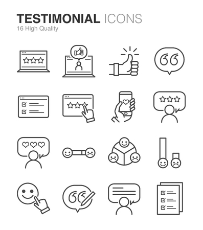 Testimonial and Feedback icons - Illustration