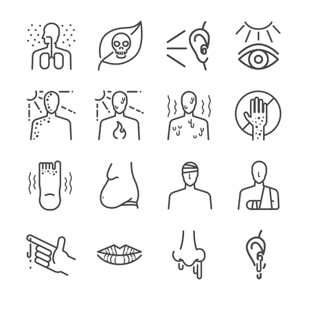 Health problem and disease icon set - Illustration