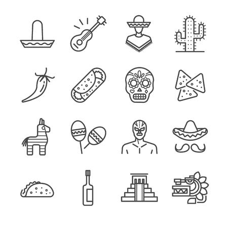traje mexicano: Mexican icons set - Illustratio