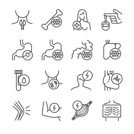 infectious disease: Disease, illness and sickness icon set - Illustration