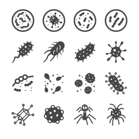 Bacteria and Virus icons set - Illustration