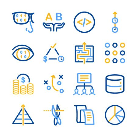 charity and relief work: Analytics icon set - Illustration