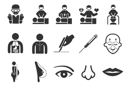Plastic surgery icons - Illustration Stock Illustratie