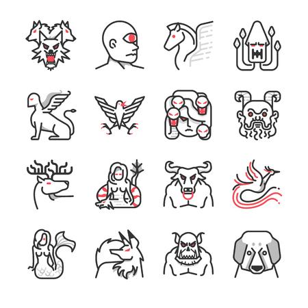 Greek monster mythology icons - Illustration