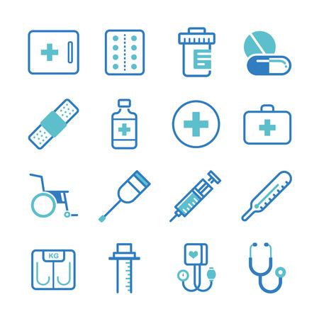Basic medical equipment icons set - Illustration