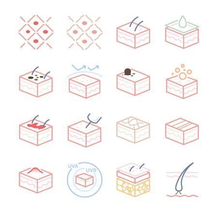Skin and Dermatology icons set - Illustration Ilustração Vetorial