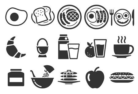 Illustration vectorielle: icônes de petit déjeuner - Illustration Banque d'images - 77150466