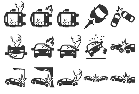 Stock Vector Illustration: Car crash icons - Illustration