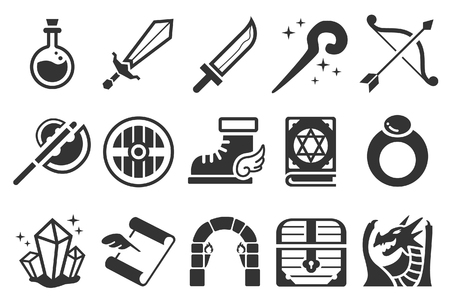 Stock Vector Illustration: Game RPG icons - Illustration Illustration