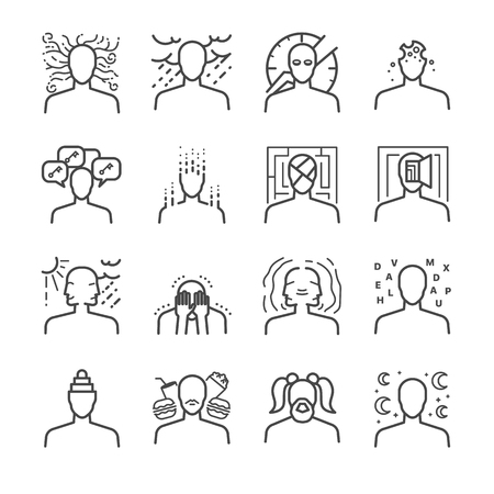 Mental disorders icon set - Illustration Illustration