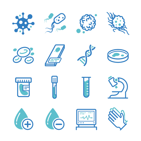 bacteria cell: Medical laboratory icons - Illustration