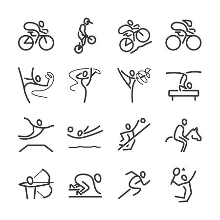 Outline icons, popular sports - Illustration