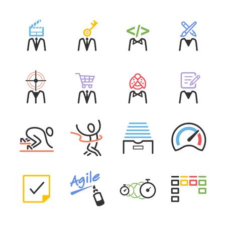 Stock Vector Illustration: Agile team icon set - Illustration