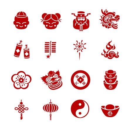 Chinese New Year icons - Illustration - Illustration