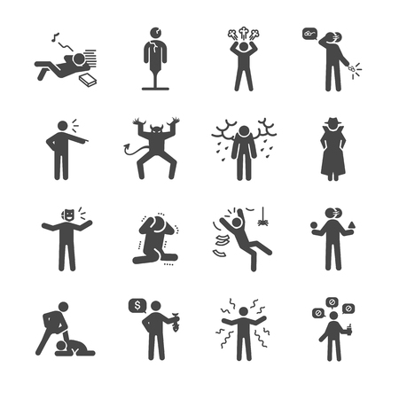 cheesy: Bad personality and character icons set - Illustration