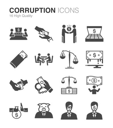 Corruption and bribery icons set - Illustration Illusztráció