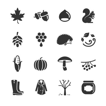 Stock Vector Illustration: Autumn icons - Illustration Ilustração