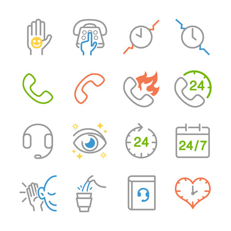 Customer service line icons - Illustration