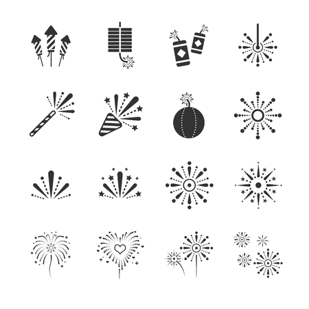 Stock Vector Illustration: Fireworks icons - Illustration