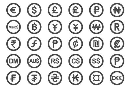 Currency icons - Illustration - Illustration