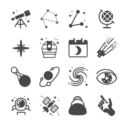 gravitational field: Astronomy and space icons - Illustration
