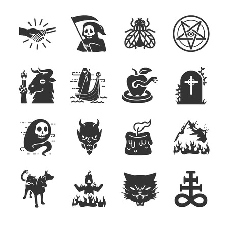 garden of eden: Hell and evil icons - Illustration