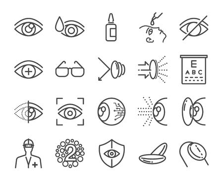 doctor exam: Eye care and optical icons set - Illustration