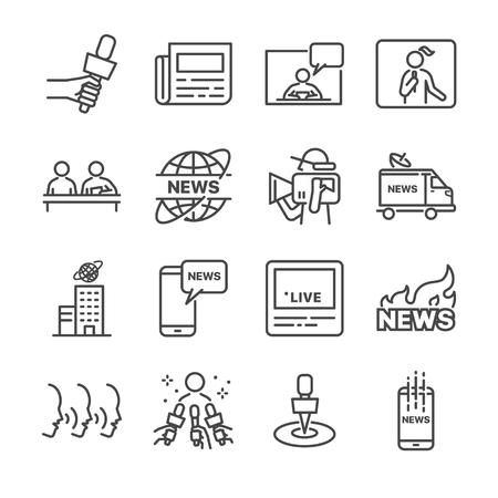 ニュース関連ベクトル線アイコン セットです。ニュース、新聞、記者、ソーシャル メディア ライブなどのアイコンが含まれているとします。