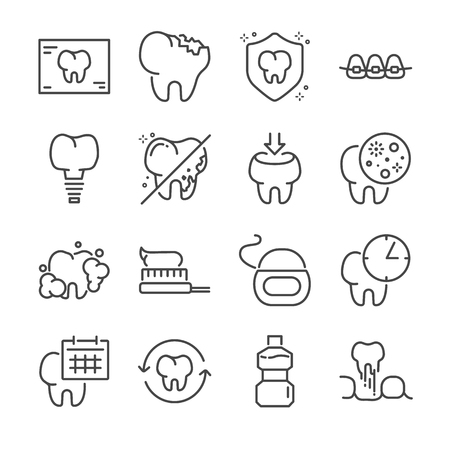 Dental vector line icon set. Included the icons as tooth, Dental floss, mouthwash and more.